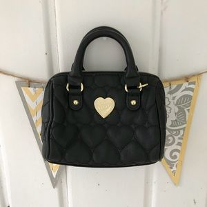 Betsey Johnson Black Quilted Heart Mini Satchel